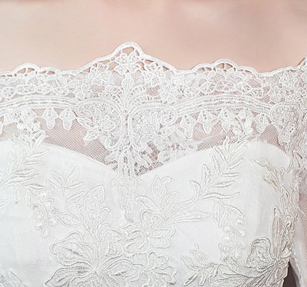 VENSANAC Illusion Boat Neck Lace Appliques Mermaid Wedding Dresses Elegant Half Sleeve Sweep Train Bridal Gowns