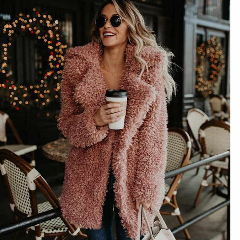 82b556e5e80 Womens Fluffy Warm Outwear Faux Fur Lapel Coat Plush Winter Long Sleeve  Overcoat Casual Coat Women