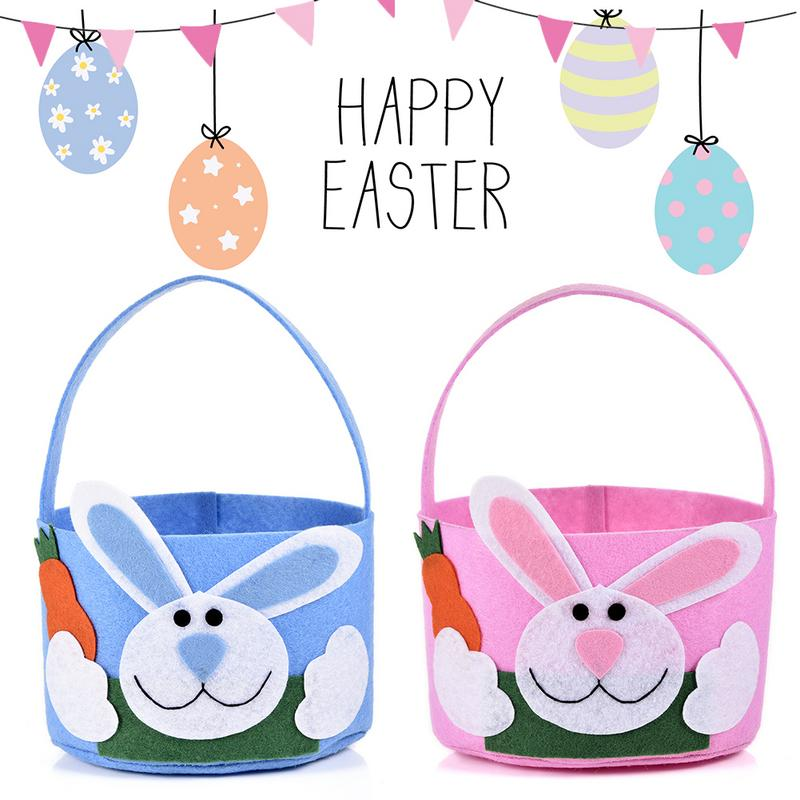 1pcs Easter Bunny Tote Bag 2 Styles Easter Bunny Basket cloth Easter Bucket Gift Bag Festive Party Supplies 40