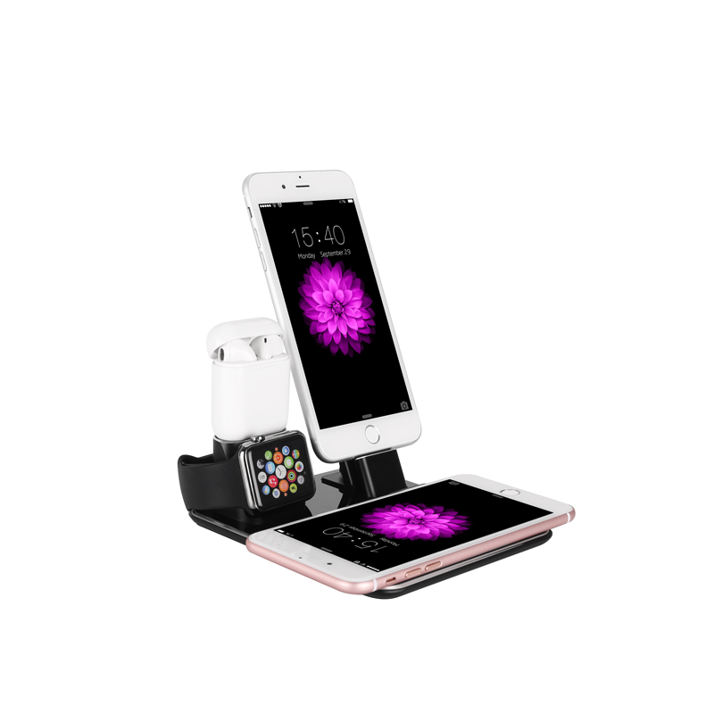 10 w Rapide Sans Fil Chargeur 4-en-1 En Aluminium Support de Téléphone De Bureau Support De Charge pour iWatch iPad AirPods iphone X/8/8 Plus