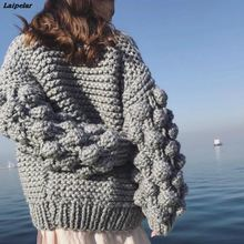 Coarse Crochet Cardigan 3D Floral Hook Sweater Hand Knitted Coat V-Neck Rough Wool Lantern Sleeved Loose Jacket Tops 2018