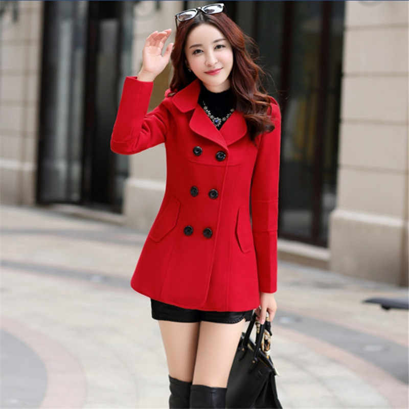 2019 New Elegant Women Wool Plus Size Yellow Red Khaki Maxi Long Coat Slim Female Woolen Blends Manteau Femme Robe Outerwear