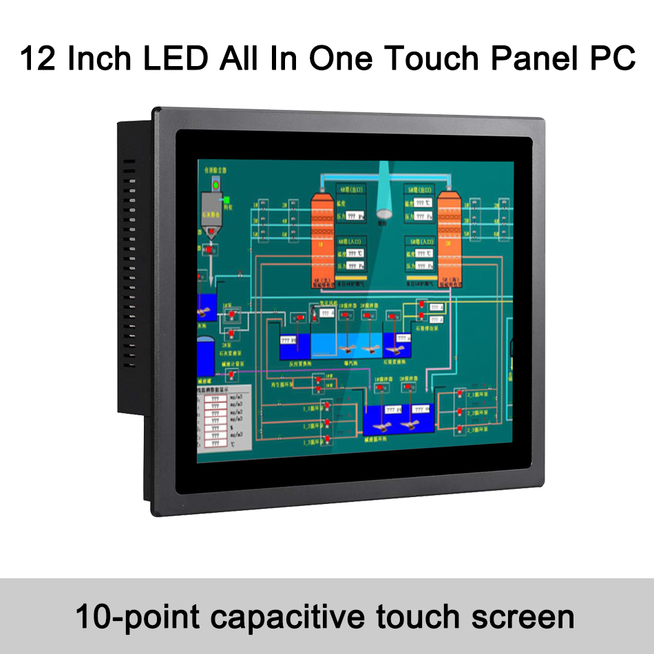 12 Inch IP65 Industrial Touch Panel PC,10 Points Capacitive TS,All In One Computer,Windows 7/10,Linux,Intel Core I7,[HUNSN DA14]