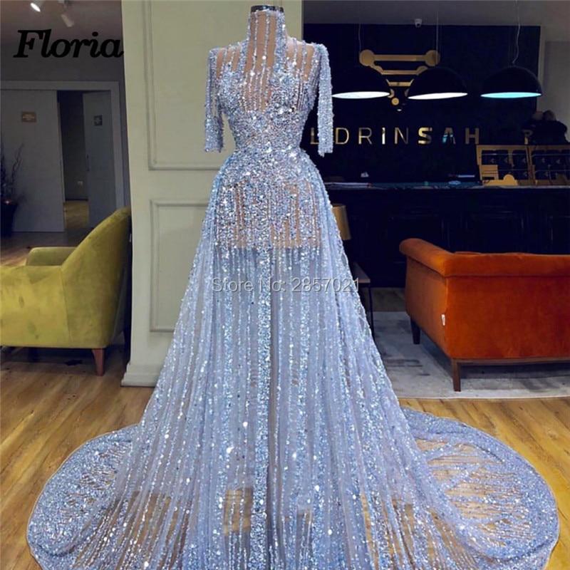 Großzügig Blau Perlen Abendkleider Mit Transparent Dubai Türkischen Prom Kleid Arabisch Osten Nahen Party Kleid Robe De Soiree 2019