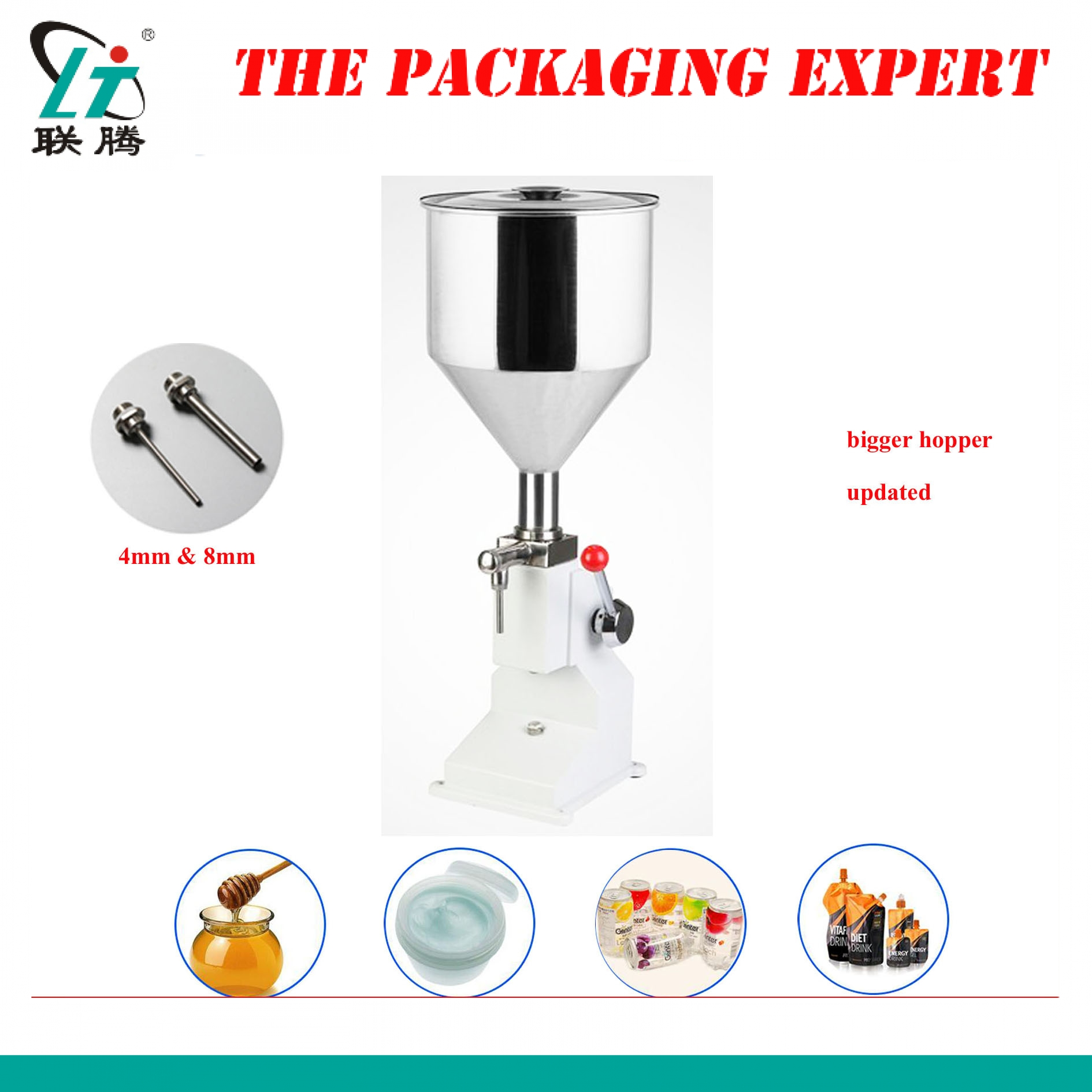Shampoo Lotion Cream Hopper Filler Yoghourt Honey Juice Sauce Jam Gel Paste Water Filling Machine Pneumatic Piston Free Shipping