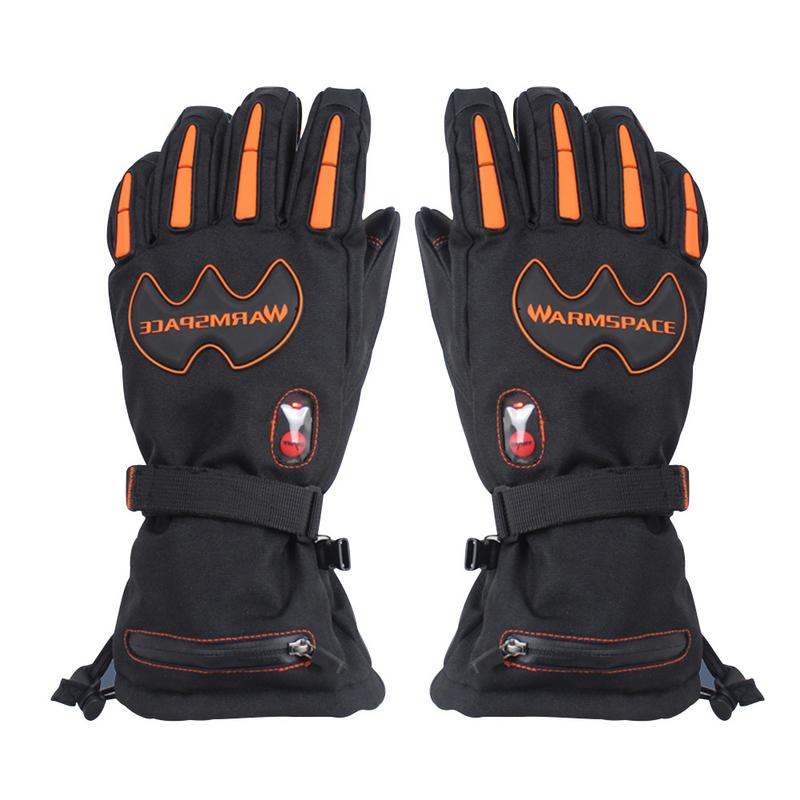 Contrôle de température électrique gants chauffants main chaude cinq doigts chauffage épais imperméable coupe-vent Ski Snowboard gants EUplug