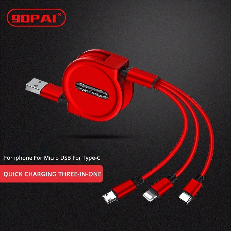 90PAI Retractable Charger Quick Charge 3-in-one Charging Cable Telescopic Charging Rate For Xiaomi For iphone For Type-C For HTC