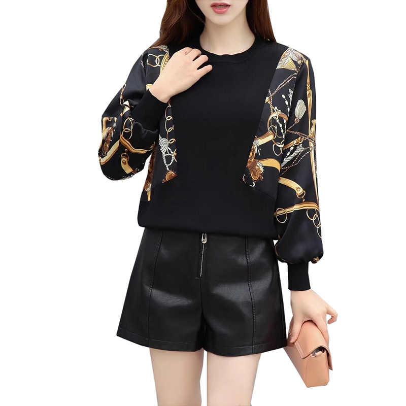 2019 брендовый дизайн Повседневный пуловер, свитер Весенняя женская, перевязанные тесьмой вязаный свитер элегантный Леопардовый принт черный вязаный Топ