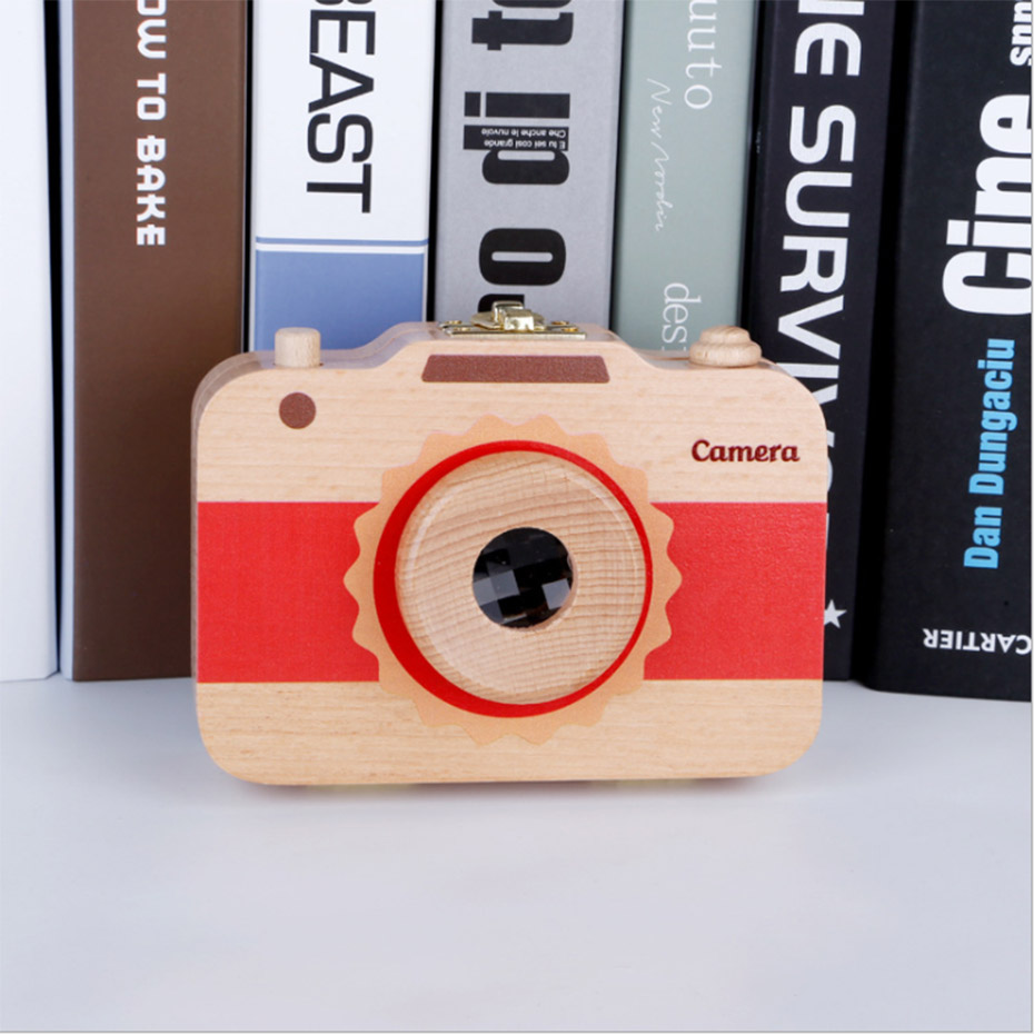1PC 5-7 Years Men And Women Camera Modeling Wooden Tooth Box Deciduous Tooth Ox Natural Beech  Box Teeth Wood Neutral Gift