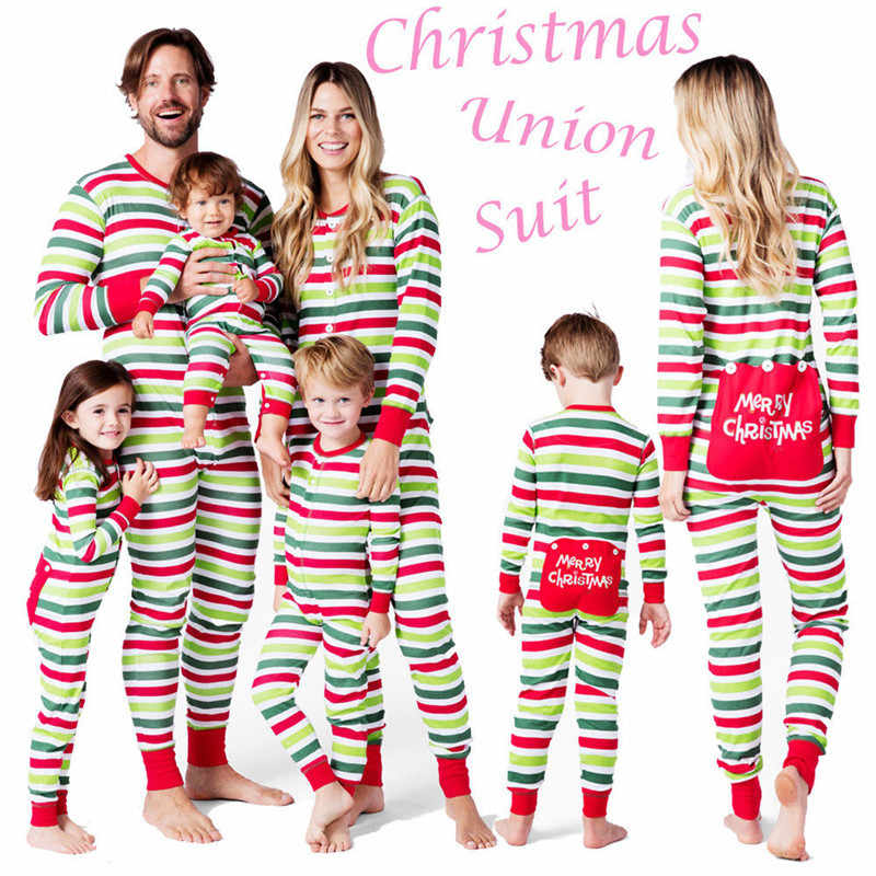 PUDCOCO Christmas Family Matching Suit Pajamas Set PJS One Piece striped  Sleepwear Nightwear Rompers Kids Men dafb6a6d1