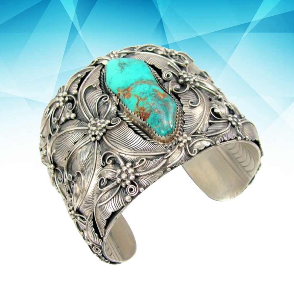 1PC niebieski kryształ kolor srebrny Indian Vintage duży szeroki otwarty mankiet bransoletki Pulseiras bransoletka biżuteria boho komunikat biżuteria