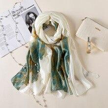 2019 di lusso Delle Donne di marca sciarpa di Seta Spiaggia Scialle Sciarpa  di seta di 613225542390