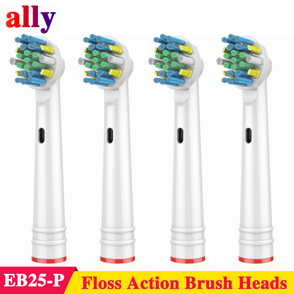 4X EB25 Electric toothbrush heads For Oral B Vitality Triumph Floss Action with Bacteria Guard Bristles Replacement Brush