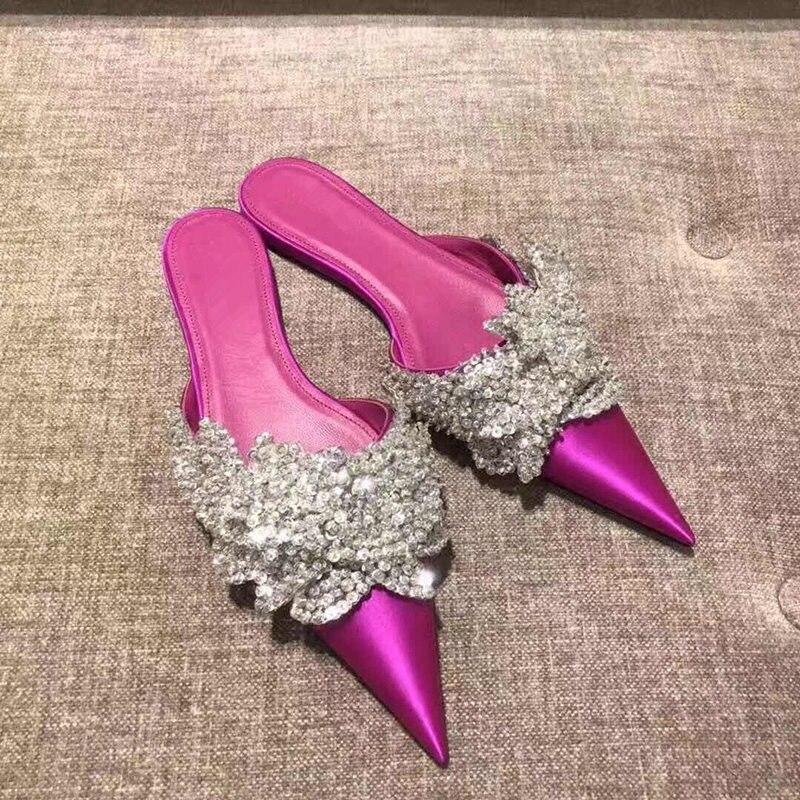 Schuhe Rot Sommer Show Chaussures Kristall Frauen Sexy Rutschen as Maultiere Schwarz Femme Show As Hausschuhe Mode Frau Bling Flache Spitze Rose Zehen Decor vwqZCa