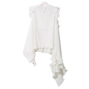 Image 4 - [EAM] 2020 חדש אביב קיץ עגול צוואר שרוולים שחור סדיר Hem קפלים Loose חולצה נשים חולצה אופנה גאות LLL324