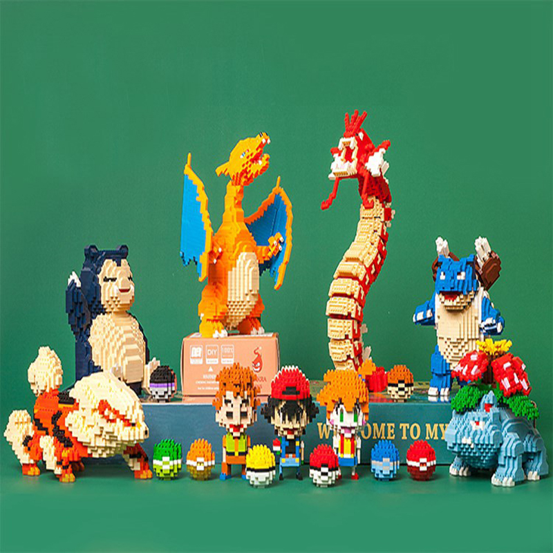 Pocket Monster Charizard Blastoise Venusaur Gyarados Snorlax Arcanine Ash Animal Small Mini Diamond Blocks Building Toy No Box