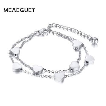 65caac717c0b Cadena de doble capa amor corazón en pulsera de acero inoxidable oro y  plata joyería de mujer