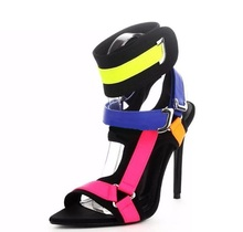 Newest Mixed Color Buckle Strap Women Sandals Stiletto Heels Metal Decoration Ladies Pink Yellow Blue Block
