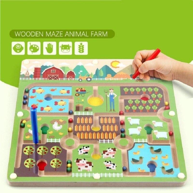 Stylo à perles magnétique labyrinthe thème de la ferme jeux Parent-enfant Puzzles Montessori en bois jouets éducatifs pour les enfants d'âge préscolaire - 4