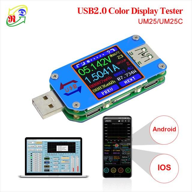 RD UM25 UM25C für APP USB 2.0 Typ-C LCD Voltmeter amperemeter spannung strom meter batterie ladung kabel widerstand usb tester