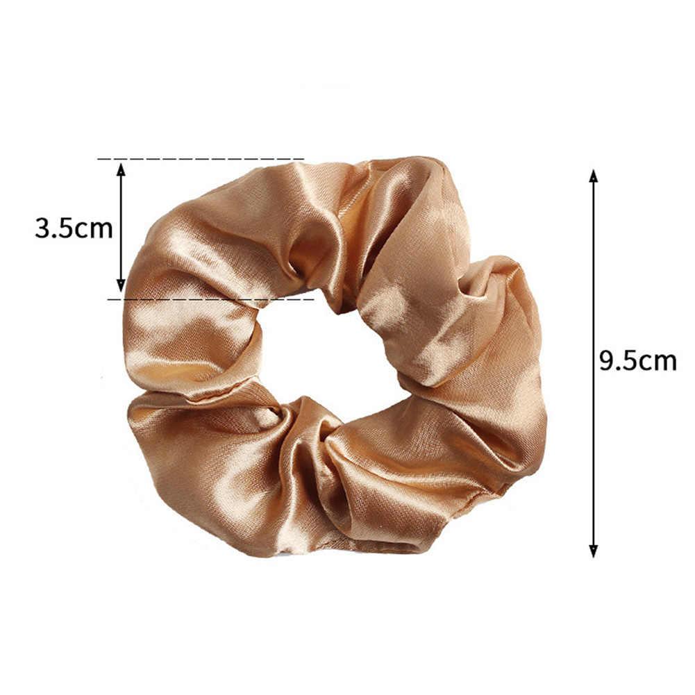 2019 Sweet Silky Satin Hair Rope Ties Scrunchies Women Elegant Elastic Hair Bands Solid Color Girls Rope Rings Hair Accessories