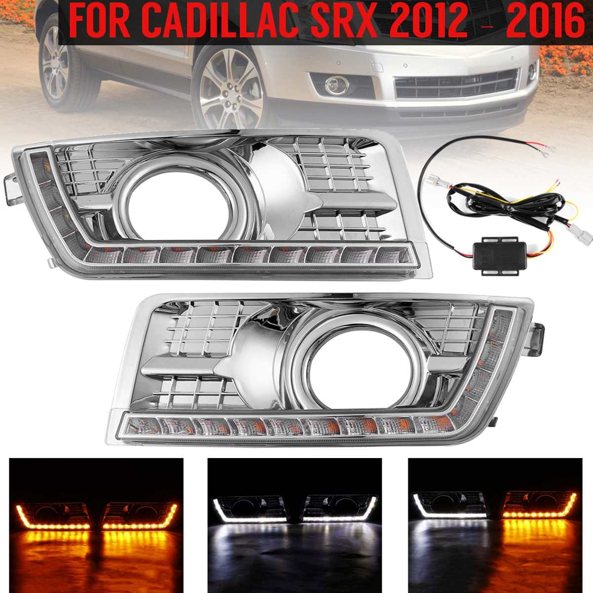 1 Pair Front Car Led Daytime Running Lights For Cadillac Srx 2012-2016 25778388 Flashing Drl Fog Lamp Turn Signal Light Styling1 Pair Front Car Led Daytime Running Lights For Cadillac Srx 2012-2016 25778388 Flashing Drl Fog Lamp Turn Signal Light Styling