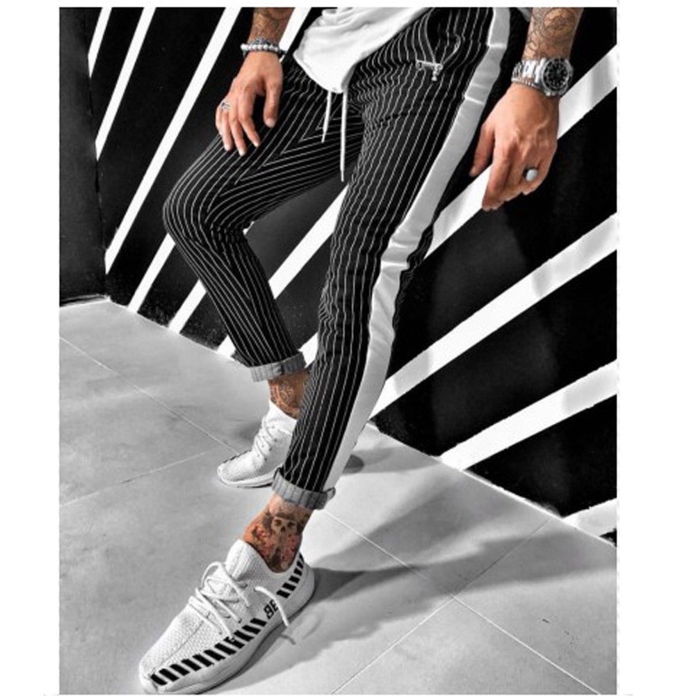 Pants 2019 Brand New Mens Skinny Slim Fit Bottom Stripe Casual High Pants With Pockets Workout Hip Hop Track Trousers
