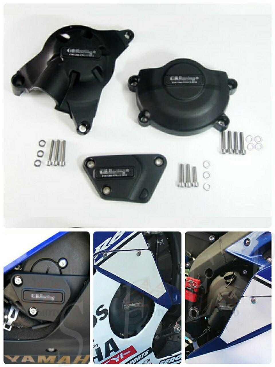 Housse de protection pour moteur moto GB Racing pour Yamaha YZF-R6 2006-07-08-09-10-11-12-13-14-15-16-17-2018-2019 noir