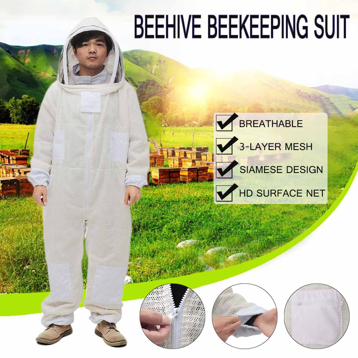Beekeepers Full Body Beekeeping Clothing Professional Bee Protection Beekeeping Suit Safty Veil Hat Dress All Body EquipmentBeekeepers Full Body Beekeeping Clothing Professional Bee Protection Beekeeping Suit Safty Veil Hat Dress All Body Equipment