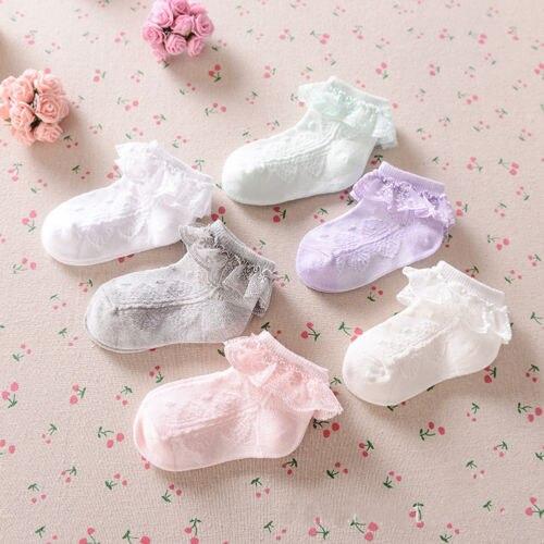 Summer Toddler Baby Girls Cotton Lace Ruffle Frilly Ankle Socks Princess Anti Slip Tutu Socks