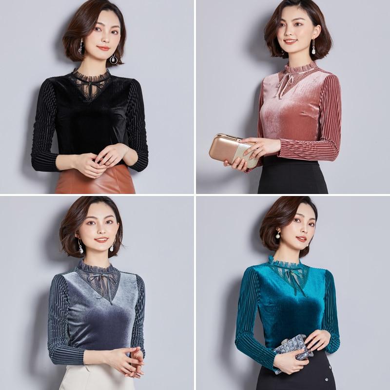 Lady Velvet Tees Tops New Fashion Women Half Turtleneck Long-Sleeved Pleuche T-shirts Solid Color Female Tshirts