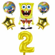 6pcs/lot SpongeBob SquarePants And 40inch Number Foil Balloons Birthday Party Decoration Kids Childrens Day Supplies Toy