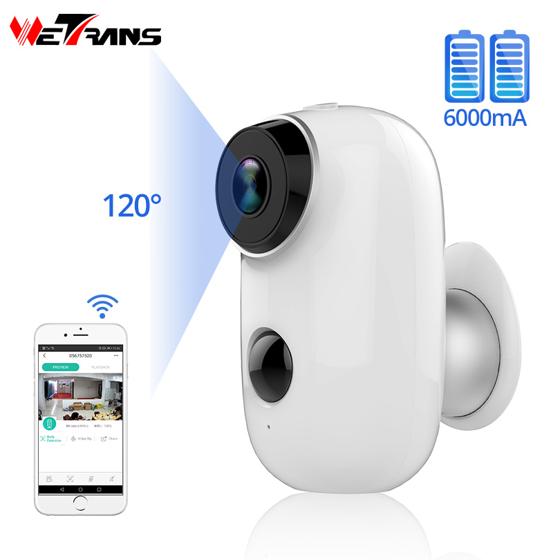 Wetrans Wifi Camera Fish-Eye-Alarm Outdoor Wireless Cam Rechargeable-Battery Night-Vision
