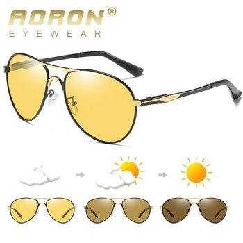 db2de86f5e AORON fotosensibles noche visión Hd hombres gafas de sol piloto amarillo  lente polarizada Uv400 para conducir Bsys8722