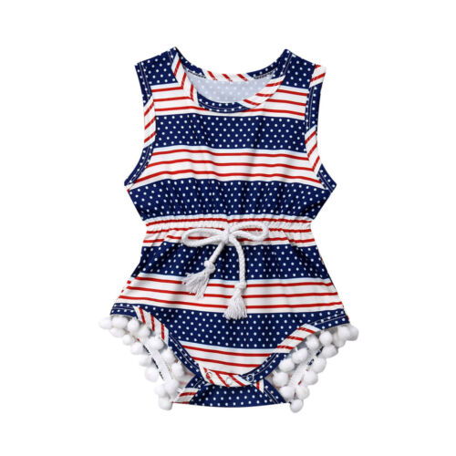 d9ae77f62 Baby Clothes Infant Baby Girl 4th of July Outfits Sleeveless Striped Romper  Jumpsuit Clothes Sunsuit ~ Perfect Sale June 2019