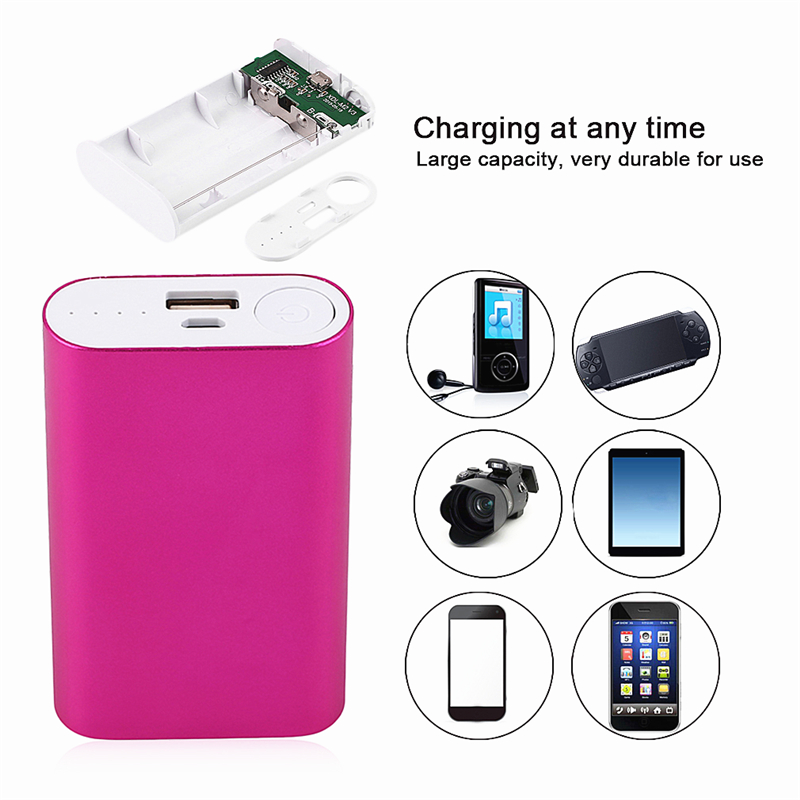 1 Pc Battery Receive A Case 5v 1a Power Bank Case Kit 4x 18650 Battery Holder Diy Box For Mp3/4 Phone Battery Charger Cases) Pure Whiteness