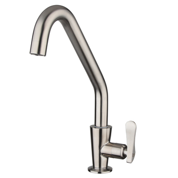 Single cold water faucet Kitchen faucet brushed kitchen tap 304stainless steel Single Handle Single Hole Deck Mounted Ceramic
