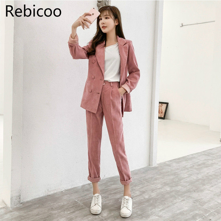 2019 Autumn And Winter New Women's Corduroy Blazer Two Piece Sets Notched Collar Casual Jacket Loose Female Clothing