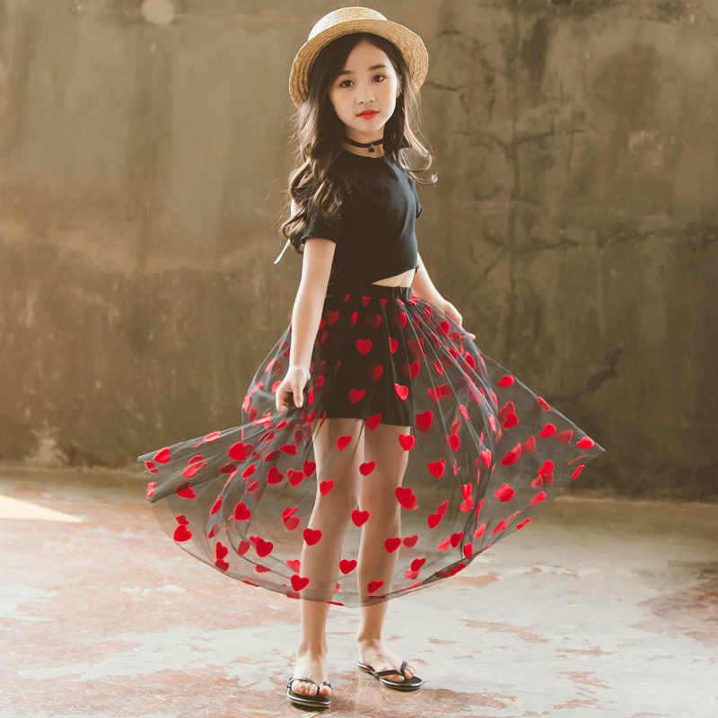 86290f8a100c7 Baby Kids Girls Clothes Set Summer Outfit Cotton Tops Long Heart Mesh Tutu  Skirts Teens Girl Clothing Sets For 4 6 8 10 12 14 Yr