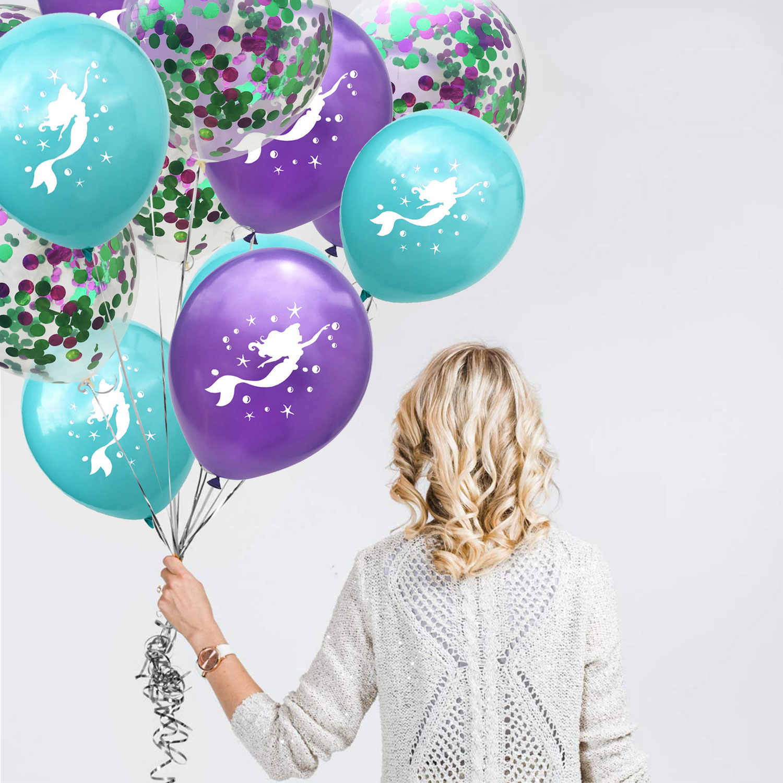 ZLJQ 12 inch Paars Blauw Mermaid Latex Ballonnen Confetti Ballon Voor Mermaid Party kinderen Decoraties Verjaardagsfeestje Leveranties