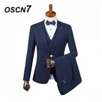 OSCN7 3PCS Tailor Made Suits Men Gentleman White Vertical stripes Wedding Dress Custom Made Suit Men Fashion Tuxedo DM 009