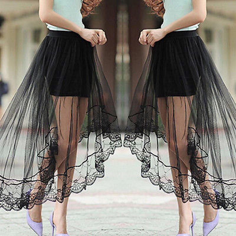 Women Lace Half Slips Skirt Knee Length A Line Underskirt Extender Black /White