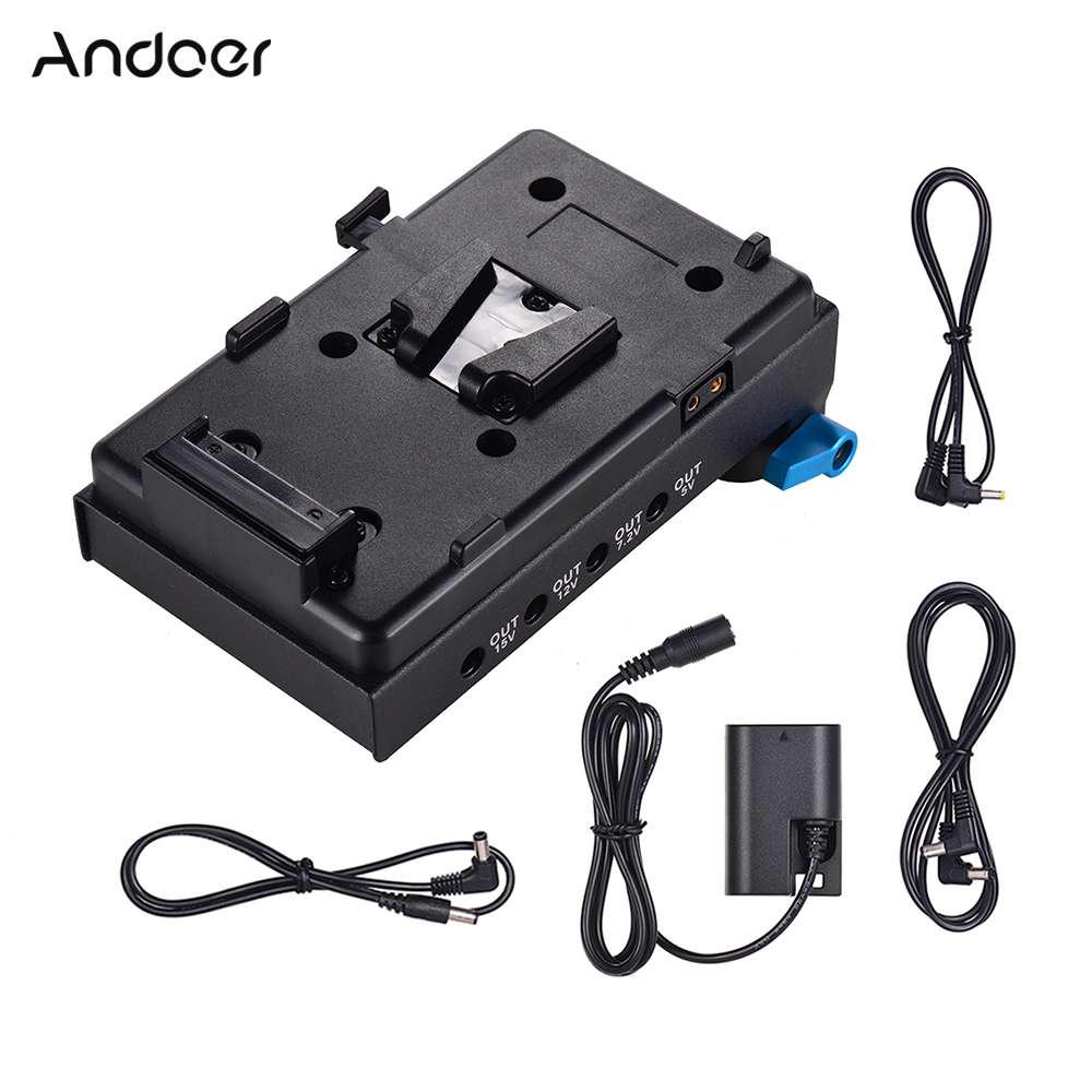 Andoer V Mount V-lock Battery Plate Adapter For Canon 5D2 5D3 5D4 LP-E6 Dummy Battery Adapter With 15mm Dual Hole Rod Clamp