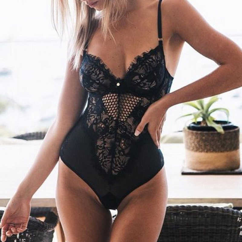 Body de encaje Sexy leotardo femenino camisetas sin mangas de estiramiento Pelele de tirantes ajustado de verano ropa de las señoras 2019