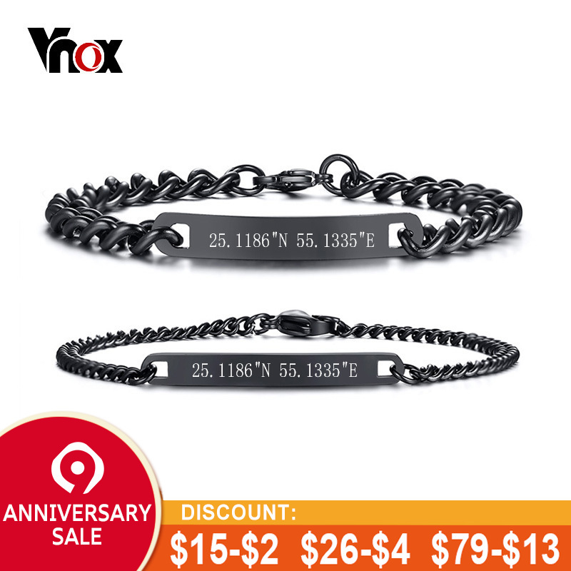 Jewelry & Accessories Vnox Free Engraving Thin Tag Bar Id Bracelets For Women Girl Stainless Steel Elegant Female Customize Jewelry Adjustable Length