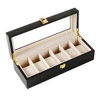 6 Plaid Black Wooden Watch Box Jewelry Display Storage Storage Watch Box