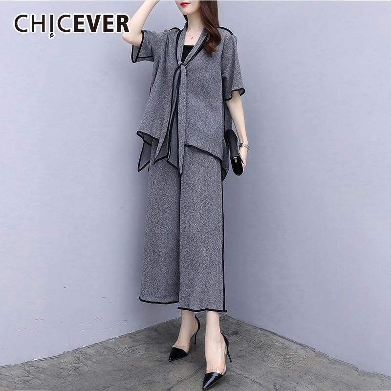 CHICEVER Summer Casual Solid Women Two Piece Set V Neck Bow Short Sleeve Irregular Top Clothing