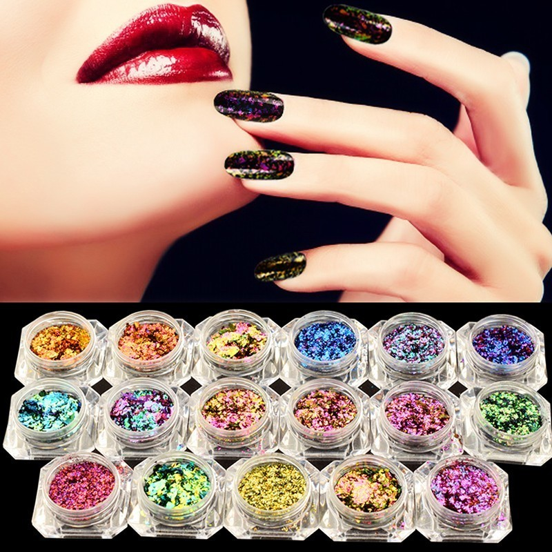 BeautyBigBang 2PCS 0.1g Chameleon Effect Flake Nails Accessories Sequins Mirror Powder Chrome Pigment Glitter Nails Art