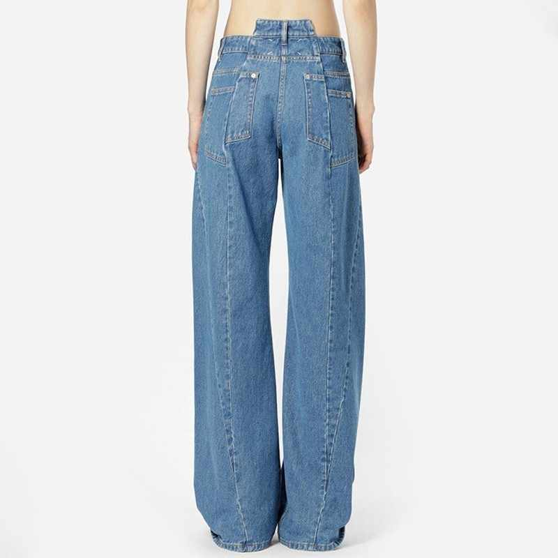 TWOTWINSTYLE лоскутные джинсы женские с высокой талией Асимметричные Длинные широкие брюки для женщин 2019 весенние повседневные Модные