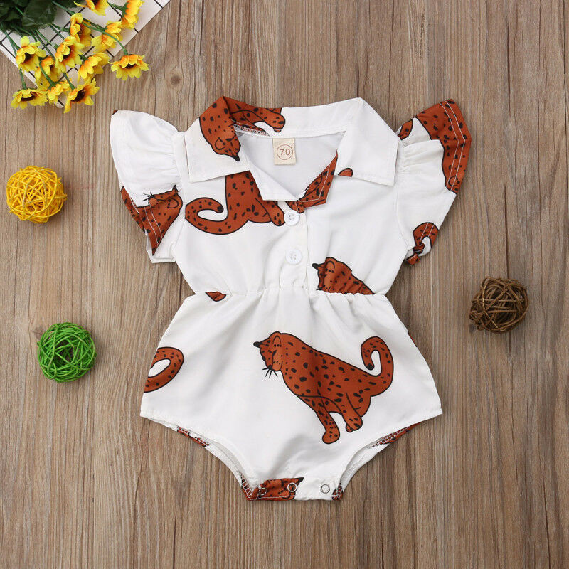 Summer Baby Girl Romper Leopard Ruffle Blouse Bodysuit Jumpsuit Outfits Clothes
